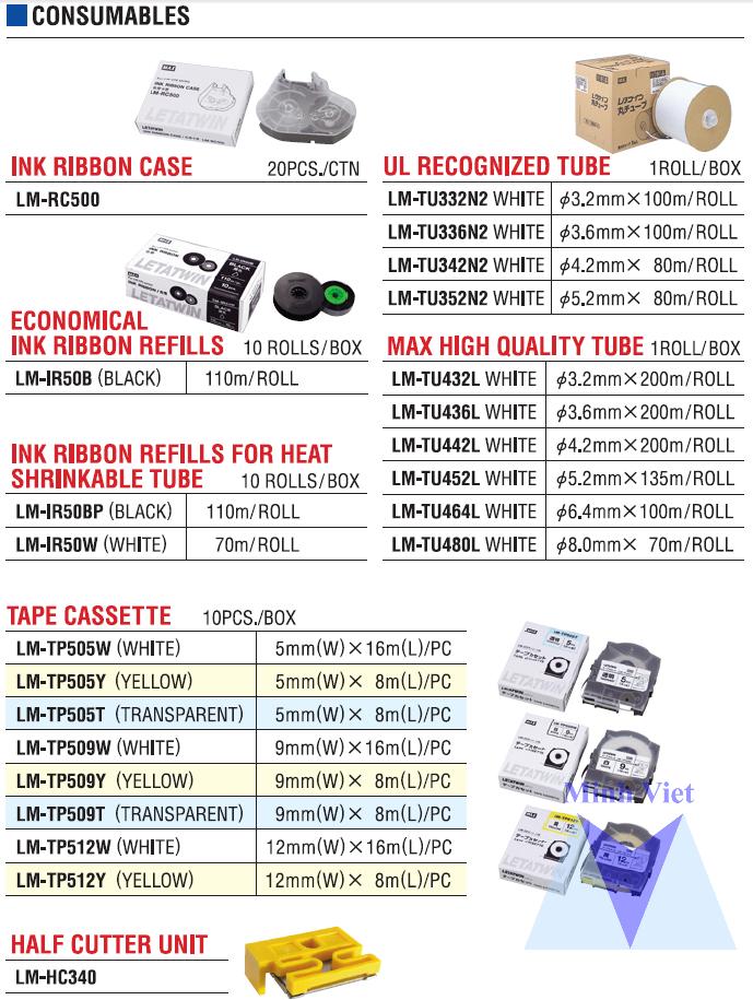 Danh sách phụ kiện máy in đầu cốt LM-550E