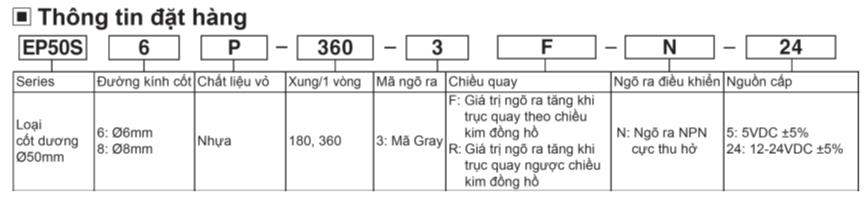 Tính năng Bộ mã hóa vòng quay EP50SP