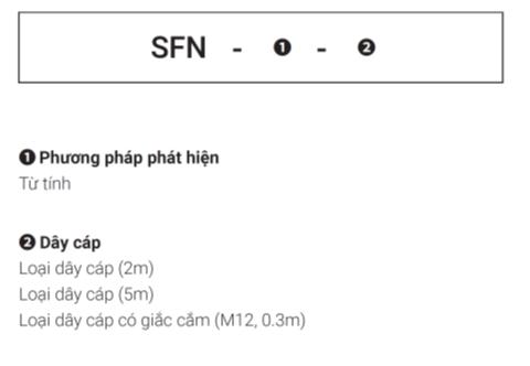Thông tin đặt hàng Công tắc an toàn SFN