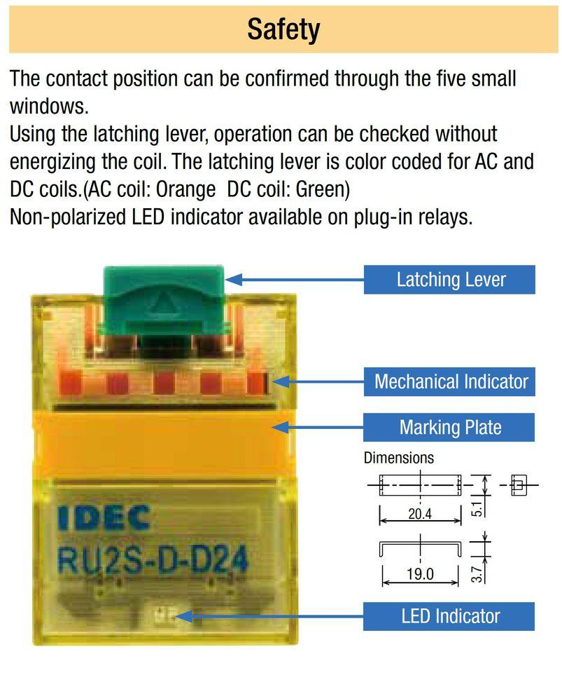Tính năng rơ le relay RU IDEC